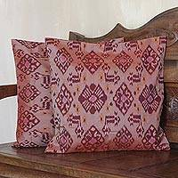 Cotton cushion covers, 'Petal Perfection in Maroon' (pair) - Handwoven Maroon Cotton Cushion Covers (Pair)