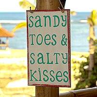 Wood sign, 'Sandy Toes and Salty Kisses' - Hand Made White Wood Beach Sign from Indonesia