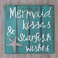 Wood sign, 'Mermaid Kisses' - Hand Made Green Wood Beach Sign from Indonesia