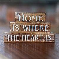 Decorative wood blocks, 'Loving Home' (set of 3) - Brown Wood Inspirational Sign Blocks (Set of 3) Indonesia