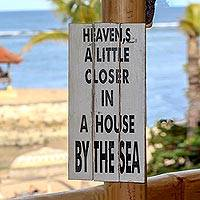 Wood sign, 'Heavenly Beach' - Hand Made White Beach Sign from Indonesia
