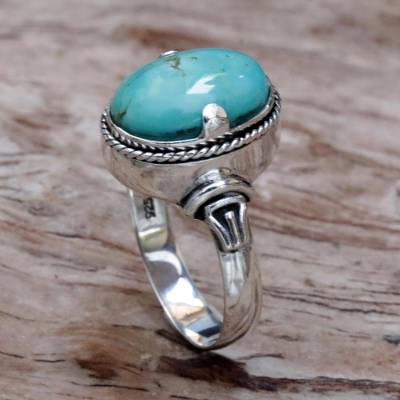 cheap red heart rings - Balinese Natural Turquoise and Sterling Silver Cocktail Ring