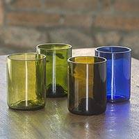Recycled glass juice glasses, 'Refreshing Rainbow' (set of 4) - Set of 4 Juice Glasses from Recycled Bottles Crafted in Bali