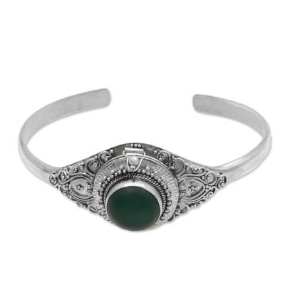Green Quartz and Sterling Silver Locket Bracelet from Bali