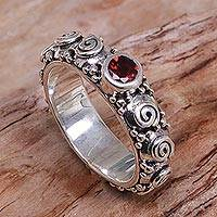 Garnet single-stone ring, 'Swirls of Joy in Red' - Garnet and Sterling Silver Single Stone Ring from Indonesia
