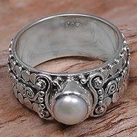 Cultured pearl single-stone ring, 'Swirling Serenity' - Cultured Pearl Single-Stone Ring from Indonesia