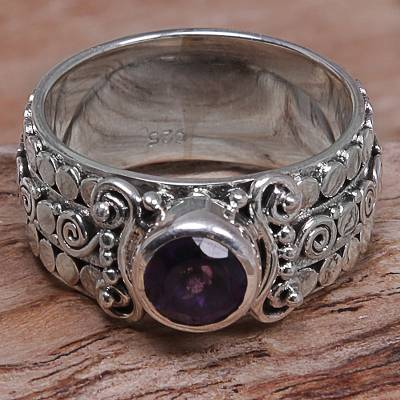 Amethyst Sterling Silver Single-Stone Ring from Indonesia