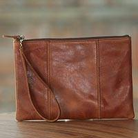 Leather wristlet, 'Chestnut Tranquility' - Brown Leather Wristlet with Zipper from Indonesia
