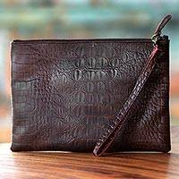 Leather wristlet, 'Brown Crocodile' - Dark Brown Leather Wristlet with Zipper from Indonesia