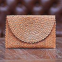 Natural fiber clutch, 'Pumpkin Texture' - Hand Made Natural Fiber Clutch Handbag from Indonesia
