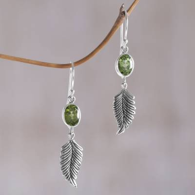Peridot dangle earrings, 'Passionate Hope' - Balinese 925 Sterling Silver Feather Earrings with Peridot