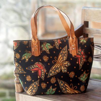 Cotton and leather accent batik tote handbag, 'Midnight Monarchs' - Cotton and Leather Accent Batik Tote Bag from Indonesia