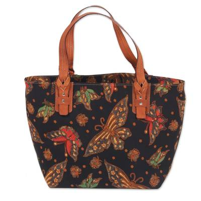Cotton and Leather Accent Batik Tote Bag from Indonesia