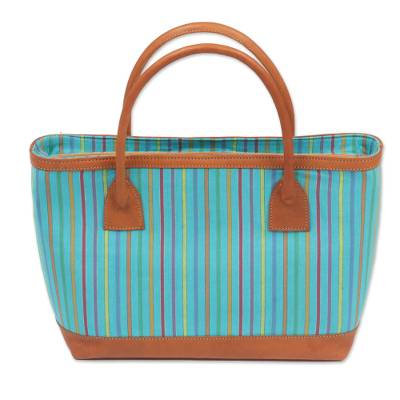 Hand Woven Blue Striped Handle Handbag from Indonesia