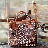 Batik leather handbag, 'Kawung Flower' - Floral Batik Leather Handle Handbag from Indonesia