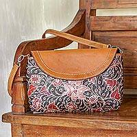 Batik leather sling bag,