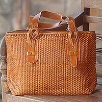 Leather shoulder bag, 'Malioboro Sienna' - Handcrafted Leather Shoulder Bag in Sienna from Bali