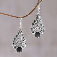 Onyx dangle earrings, 'Princess Tears in Black' - Artisan Crafted Onyx and Sterling Silver Earrings from Bali
