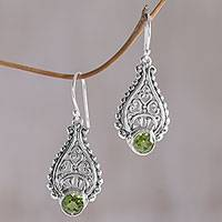 Peridot dangle earrings, 'Princess Tears in Green' - Balinese Hand Crafted Peridot and Sterling Silver Earrings