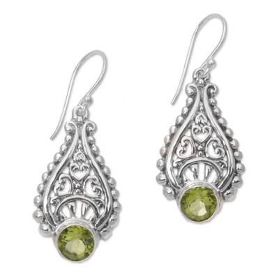 Balinese Hand Crafted Peridot and Sterling Silver Earrings
