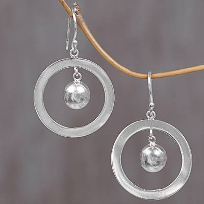 Sterling silver dangle earrings, 'Circles of Joy' - Sterling Silver Dangle Earrings from Indonesia