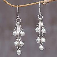 Sterling silver dangle earrings, 'Silver Time' - Sterling Silver Dangle Earrings from Indonesia
