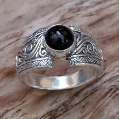 modern silver rings in san - Sterling Silver and Black Onyx Single Stone Ring from Bali