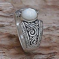 Moonstone cocktail ring, 'Amnesty in White' - Sterling Silver and Moonstone Single Stone Ring Indonesia
