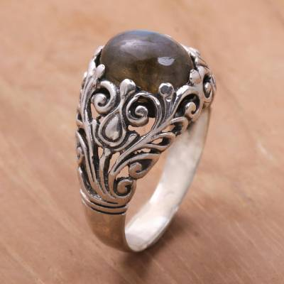 simple silver ring designs login - Handcrafted Sterling Silver and Labradorite Cocktail Ring