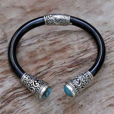 Turquoise cuff bracelet, 'Beauty of Bali' - Sterling Silver and Natural Turquoise Balinese Cuff Bracelet