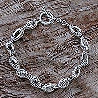 Mens sterling silver link bracelet Shining Novas (Indonesia)