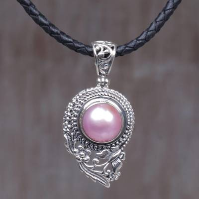 Cultured mabe pearl pendant necklace, 'Butterfly Dew in Pink' - Dyed Pink Cultured Pearl Pendant Necklace with Leather Cord