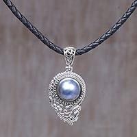 Cultured mabe pearl pendant necklace, 'Butterfly Dew in Blue' - Cultured Blue Mabe Pearl Pendant Necklace from Indonesia