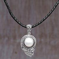Cultured mabe pearl pendant necklace, 'Butterfly Dew in White' - Handmade Cultured Pearl Pendant Necklace with Leather Cord