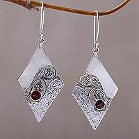 Garnet dangle earrings, 'Fern Kites' - Sterling Silver and Garnet Rhombus Dangle Earrings Indonesia