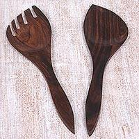 Wooden salad serving set, 'Simple Hospitality' (set of 2) - Artisan Carved Wooden Salad Servers (Pair)