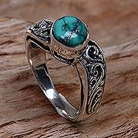 Sterling silver cocktail ring, 'Bali Vines' - Reconstituted Turquoise Single Stone Ring from Indonesia
