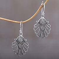 Sterling silver dangle earrings, 'Gleaming Shell' - Hand-Crafted Sterling Silver Seashell Dangle Earring