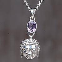 Amethyst pendant necklace, 'Gaze of the Buddha' - Sterling Silver Amethyst Buddha Pendant Necklace Indonesia