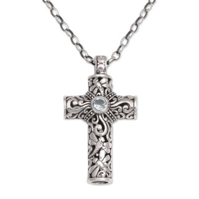 Hand-Crafted Sterling Silver and Blue Topaz Cross Necklace