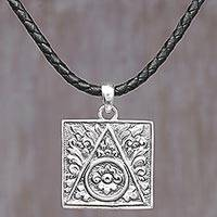 Sterling silver pendant necklace, 'Square Floral Temple' - Sterling Silver and Leather Cord Square Pendant Necklace