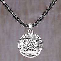 Sterling silver pendant necklace, 'Round Floral Temple' - Sterling Silver and Leather Cord Round Pendant Necklace