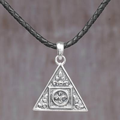 Sterling silver pendant necklace, 'Triangle Floral Temple' - Sterling Silver and Leather Cord Triangle Pendant Necklace