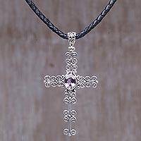 Amethyst cross necklace, 'Shining Faith' - Amethyst and Sterling Silver Cross Pendant on Leather Cord