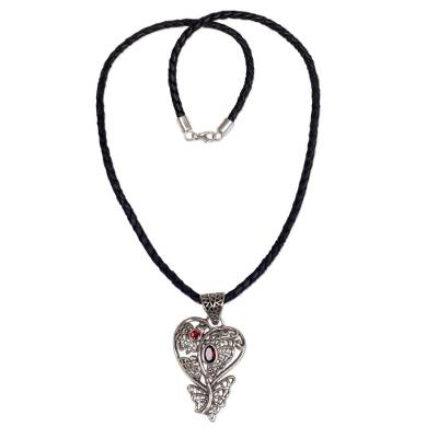 Garnet & Sterling Silver Heart Pendant & Leather Necklace
