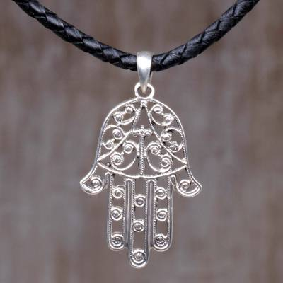 Sterling silver and leather pendant necklace,'Holy Touch' - Sterling Silver Hamsa Pendant on Black Leather Necklace