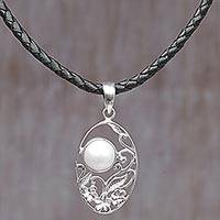 Cultured mabe pearl pendant necklace, 'Eye of the Moon' - Sterling Silver Cultured Pearl Pendant Necklace with Leather