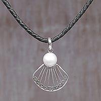 Cultured mabe pearl pendant necklace, 'Ocean Shell' - Sterling Silver and Mabe Pearl Pendant Necklace Indonesia