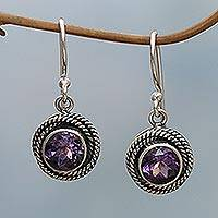 Amethyst dangle earrings, 'Nest of Chains in Purple' - Sterling Silver and Amethyst Round Dangle Earrings Indonesia