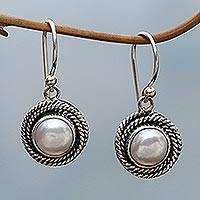 Cultured pearl dangle earrings, 'Nest of Chains in White' - Cultured Pearl Round Dangle Earrings from Indonesia